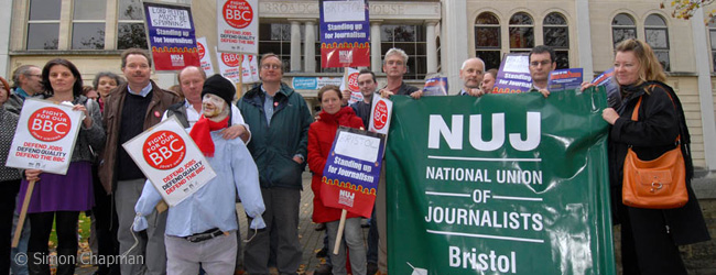 Day of Action - Stand Up for Journalism by the NUJ, and Fight For Our BBC by BECTU the NUJ and Unite unions;  BBC Bristol Offices, Whiteladies Road, Bristol; November 5, 2007.   Staff and union members gathered outside the BBC Bristol offices at lunchtime with a 'guy', Mark Thompson Director General of the BBC. There was also leafletting in the morning.  (Photo by Simon Chapman)