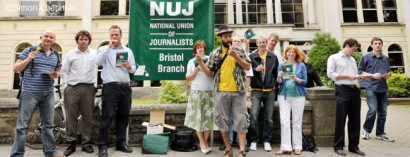 Protest by the NUJ and members of the public at the BBC in Whiteladies Road, Bristol, to defend the BBC against self-imposed cuts including 6Music and the BBC Asian network; 25 May 2010. (Photo © Simon Chapman)