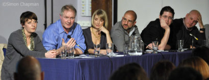 """What's the Blogging Story?"" panel at the Watershed,Bristol.  Left-right: Bloggers Sarah Ditum, Roy Greenslade, Brooke Magnanti, Sunny Hundal, Donnacha Delong (NUJ Vice President), Anton Vowl; 22 October 2010. (Photo © Simon Chapman)"