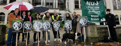 BBC staff and Branch members on the picket line at BBC Bristol, Whiteladies Road; 05 November 2010. (Photo © Simon Chapman)