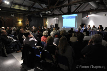 The panel and audience at the Watershed Media Centre. (Photo © Simon Chapman)