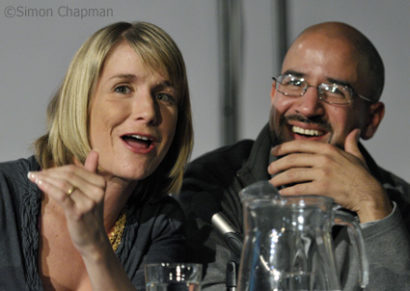 On the main panel: Brooke Magnanti (Belle de Jour) and Sunny Hundal (Liberal Conspiracy). (Photo © Simon Chapman)