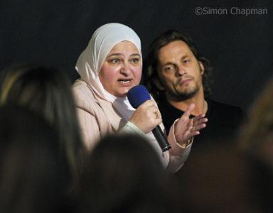 Second panel, left-right: Iqbal Tamimi (Palestinian Mothers), Chris Street (Bristol Editor). (Photo © Simon Chapman)