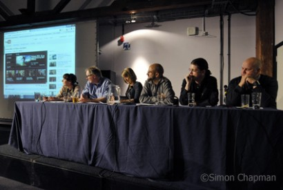 """What's the Blogging Story?"" panel,left-right: Bloggers Sarah Ditum, Roy Greenslade, Brooke Magnanti, Sunny Hundal, Donnacha Delong (NUJ Vice President), Anton Vowl. (Photo © Simon Chapman)"