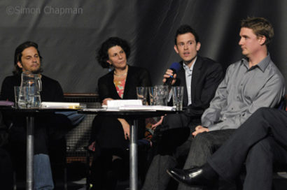 Second panel, left-right: Chris Street (Bristol Editor), Elisabeth Winkler (Real Food Lover), Will Gore (Press Complaints Commission), Kevin Arscott (Angry Mob). (Photo © Simon Chapman)