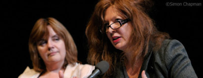 Suzanne Moore (right) gives the Benn lecture at Arnolfini, chaired by Christina Zaba (left); (Photo © Simon Chapman)