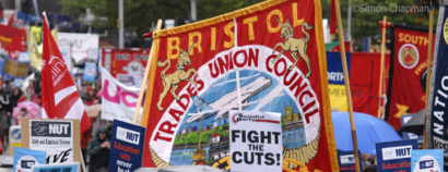 Regional demonstration in Bristol against the cuts; 23 October 2010 (Photo © Simon Chapman)