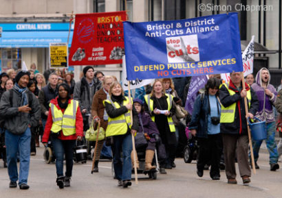 The march was organised by the Bristol & District Anti-Cuts Alliance. (Photo © Simon Chapman)