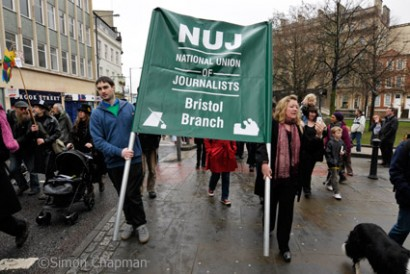 Andy and Susie carry the NUJ Bristol Branch banner. (Photo © Simon Chapman)