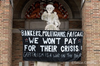 A banner hangs in front of the Council House. (Photo © Simon Chapman)