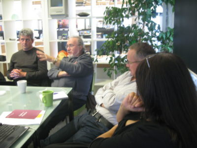 Journalists and bloggers in debate at the Pervasive Media Studio, 2010