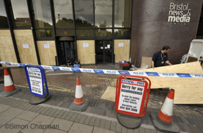 Damage to the Bristol News & Media office, 12 August 2011. (Photo © Simon Chapman)