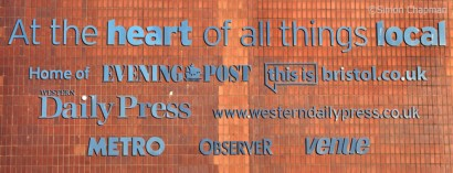 Titles listed on the now demolished print hall at Bristol News & Media. (Photo © Simon Chapman)