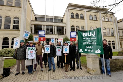 BBC staff on strike at BBC Bristol with supporters, 28 March 2013 (Photo © Simon Chapman)