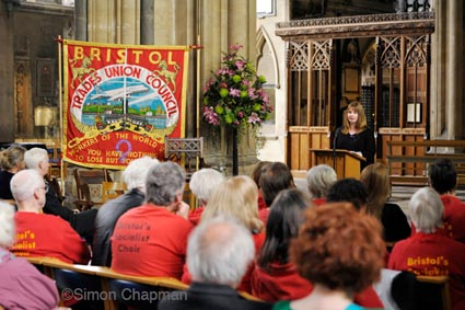 Michelle Stanistreet, NUJ General Secretary, addresses the gathering at Workers Memorial Day, at Bristol Cathedral. (Photo © Simon Chapman)