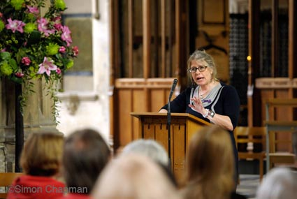Professor Julia Verne, Director for Knowledge and Intelligence (South West) Public Health Engand, addresses the gathering at Workers Memorial Day, at Bristol Cathedral. (Photo © Simon Chapman)