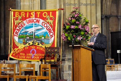 Dave Smith, from the Blacklist Support Group, addresses the gathering at Workers Memorial Day, at Bristol Cathedral. (Photo © Simon Chapman)