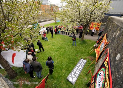 Workers Memorial Day at the Workers Memorial Plaque in Castle Park, Bristol. (Photo © Simon Chapman)