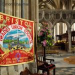 ©SIMON CHAPMAN 2013;   28/04/2013. Bristol, UK.  The Bristol Trades Union Council banner at Workers Memorial Day, Bristol Cathedral  (Photo © Simon Chapman)