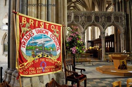 ©SIMON CHAPMAN 2013;   28/04/2013. Bristol, UK.  The Bristol Trades Union Council banner at Workers Memorial Day, Bristol Cathedral  (Photo © Simon Chapman)