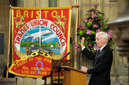 Nigel Costley, South West TUC Regional Secretary, addresses the gathering at Workers Memorial Day at Bristol Cathedral. (Photo © Simon Chapman)