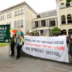 Bristol NUJ stands in solidarity with members of the Bristol Greek community supporting staff at Greek public service broadcaster ERT.  (Photo ©Simon Chapman 2013)