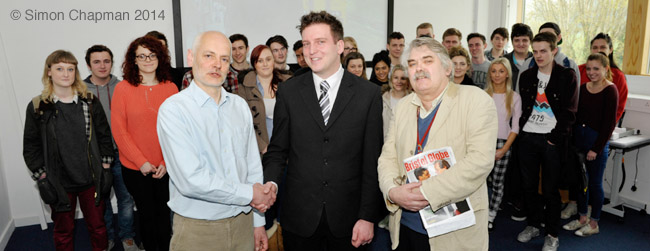 Front, left-right: Paul Breeden, Chair of Bristol NUJ; Chris Hanson, student prize winner; Mike Jempson, Senior Lecturer in Journalism.  (Photo © Simon Chapman)