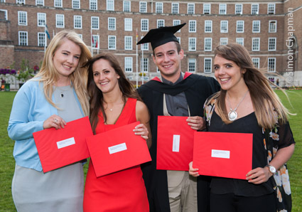 Winners of the 2016 Bristol NUJ prize for UWE journalism students; Left-right: Rhiannon Thomas; Naomi Sandercock; Boris Siromahov; Rachel Dinning; (Photo © Simon Chapman)