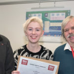 Left-right: Paul Breeden, Bristol NUJ; Jade Evans Level 1 winner; John Curzon, Senior Lecturer in Journalism, UWE; (Photo © Simon Chapman 2016).