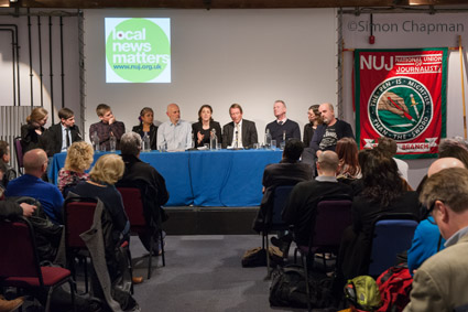 The panel at the NUJ Bristol Branch Local News Matters event at Watershed; (Photo © Simon Chapman 2017)