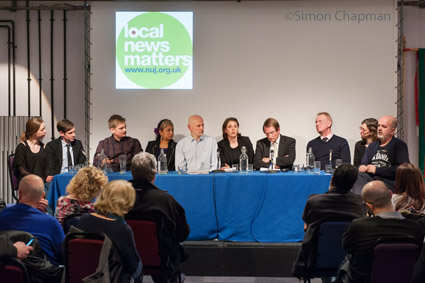 The panel at the NUJ Bristol Branch Local News Matters event at Watershed; Left-right: Lorna Stephenson, The Bristol Cable; Ben Haggitt, ITV News West Country; Chris James, Made in Bristol TV; Vandna Mehta, Vocalise magazine; Paul Breeden, chair Bristol NUJ; Selina Cuff, Chew Valley Gazette; Steve Brodie, BBC Bristol; Mike Norton, Bristol Post; Laura Davison, NUJ; Richard Coulter, Voice network; (Photo © Simon Chapman 2017)