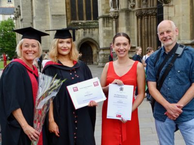 From left: Myra Evans, UWE Faculty Academic Director for Inclusive and Practice-Oriented Curriculum, L3 winner Bethany Scofield, L2 winner Lily Barrett, and Paul Breeden, chair of Bristol NUJ