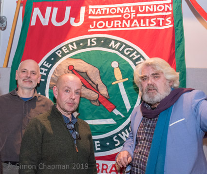 L-r: Paul Breeden, chair Bristol NUJ; Barry McCaffrey, journalist; Mike Jempson Bristol NUJ; (Photo © Simon Chapman 2019)