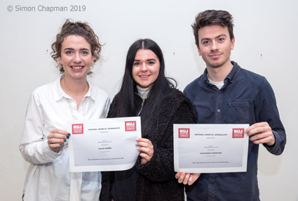 Winners of the 2019 Bristol NUJ prize for journalism students at UWE; left-right: Lily Barrett, Chloe Mobbs, Alex Crowther; (Photo © Simon Chapman 2019)