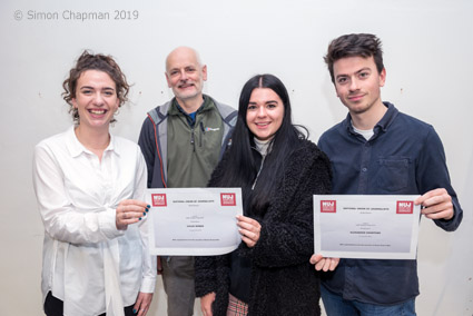 Winners of the 2019 Bristol NUJ prize for journalism students at UWE. Left-right: Lily Barrett, Paul Breeden chair of Bristol NUJ, Chloe Mobbs, Alex Crowther; (Photo © Simon Chapman 2019)